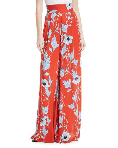 Land of Rivers High-Waist Wide-Leg Garden-Print Silk Pants