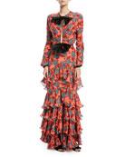 Libro De Esther Bow-Front Long-Sleeve Floral-Print Silk Dress with Flamingo Hem