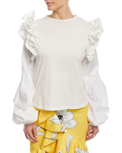 Kyoto Crewneck Ruffled-Shoulders Cotton Blouse
