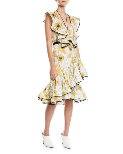 Marquesas Islands V-Neck Cap-Sleeve Floral-Print Ruffed Broderie Anglaise Dress