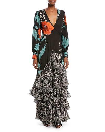 Jade Long-Sleeve Wrap Silk Gown with Tiered Flamingo Hem