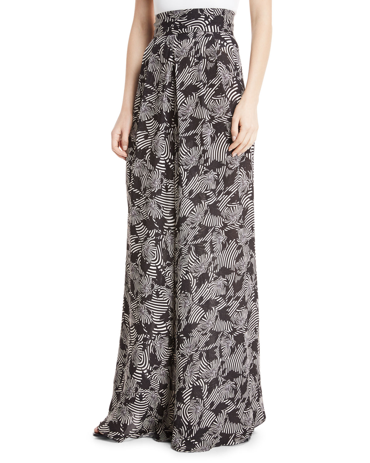 Tonga High-Waist Zebra-Print Wide-Leg Silk Palazzo Pants