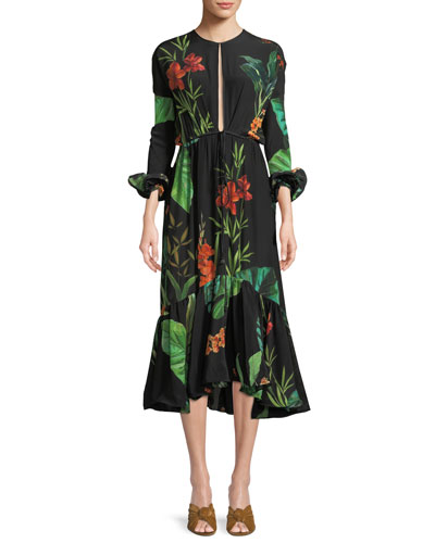 Namibia Long-Sleeves Keyhole Silk Midi Dress