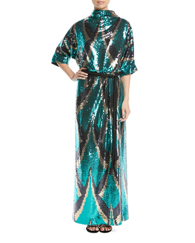 Drape-Back Belted Sequin Evening Gown