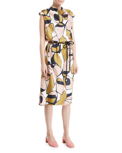 Cap-Sleeve Cowl-Neck Printed Silk Dress