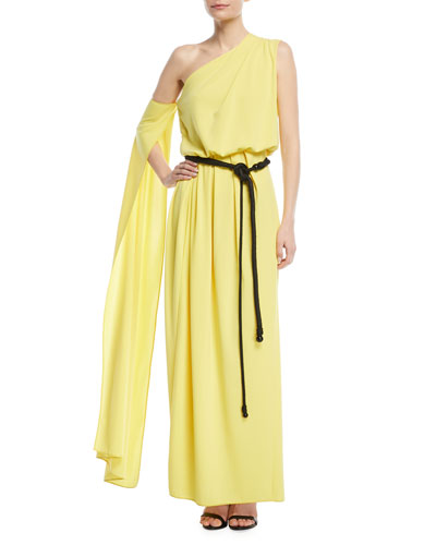 One-Shoulder Belted Drape Jersey Evening Gown