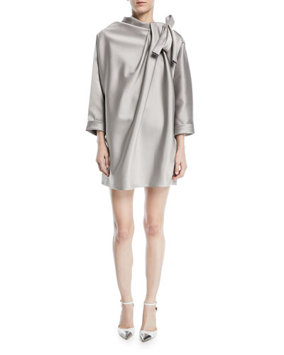 Dolman-Sleeve Satin Mini Cocktail Dress with Bow Detail