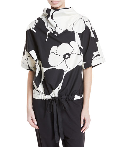 Drawn-Flowers Short-Sleeve Cotton Top with Drawstring-Hem