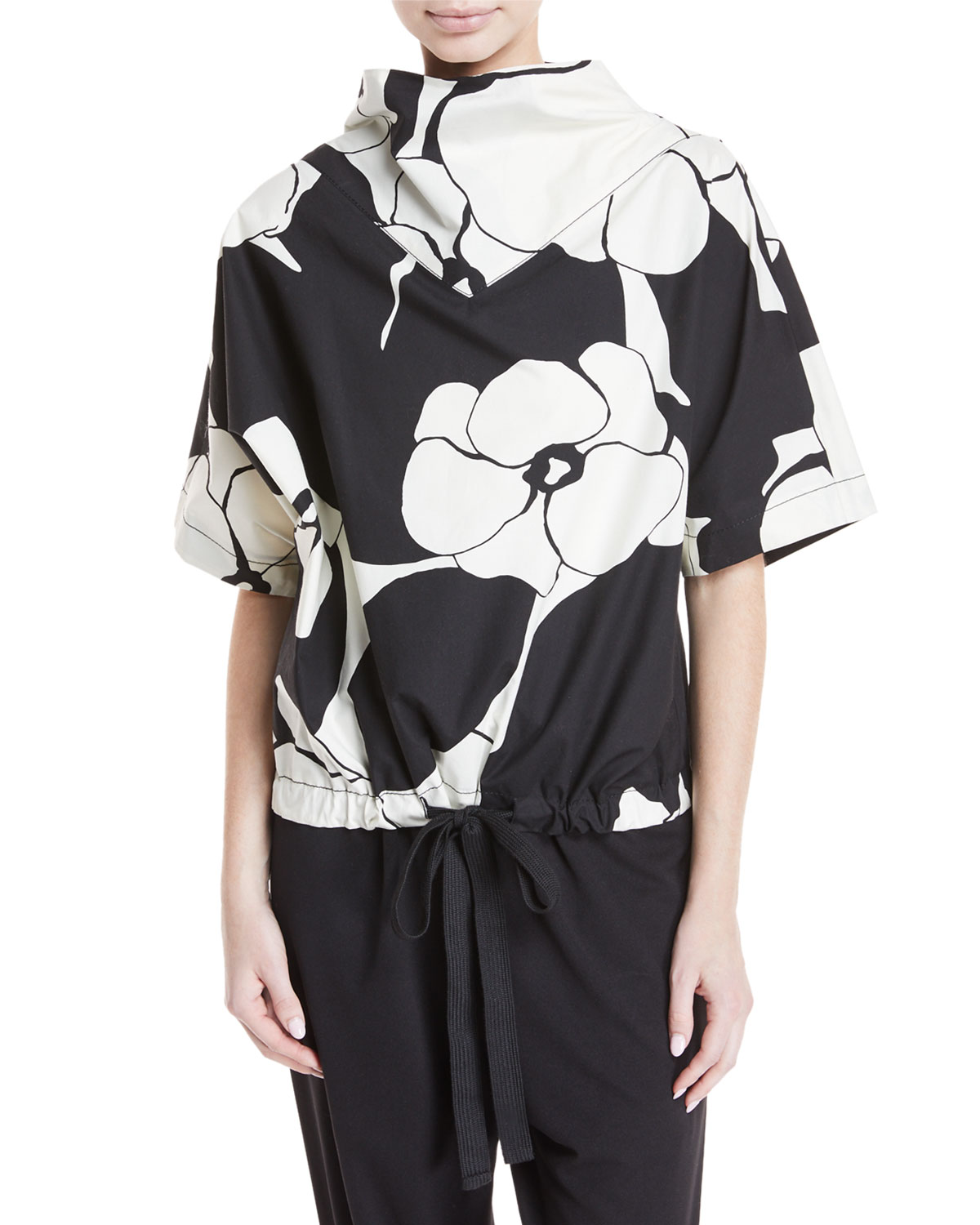 Drawn-Flowers Short-Sleeve Cotton Top with Drawstring-Hem