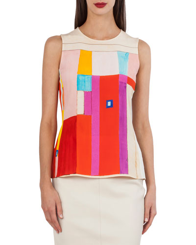 Sleeveless Mural-Print Silk Crepe Blouse