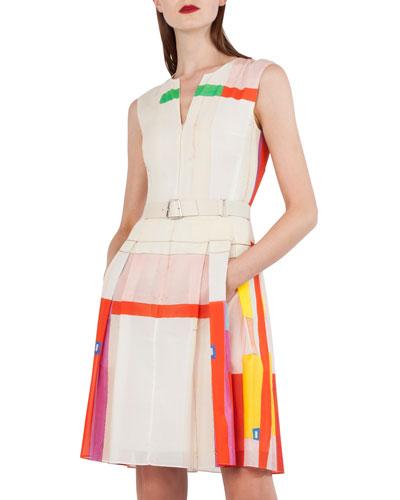 Sleeveless Cotton Voile Mural-Print Pleated Skirt Short Dress