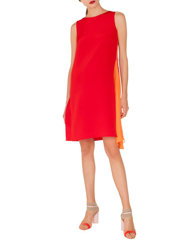 Round-Neck Sleeveless Silk Crepe Dress with Side Panel