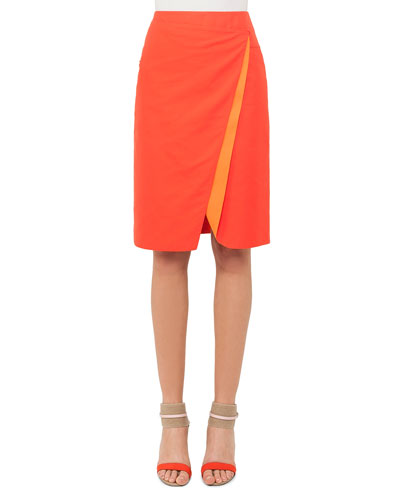 Double-Face Bicolor Wrap Effect Pencil Skirt