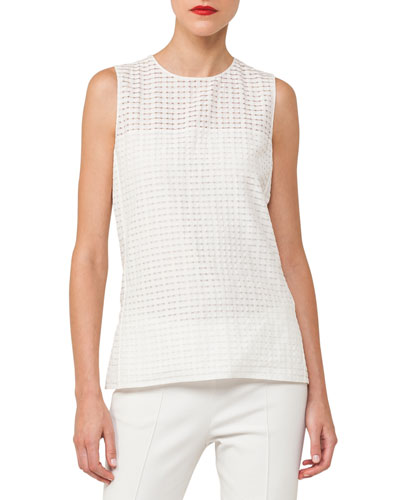 Ajouré Sleeveless Silk Cotton Blouse
