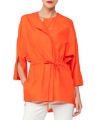 Button-Front Kimono-Sleeve Cotton Poplin Blouse