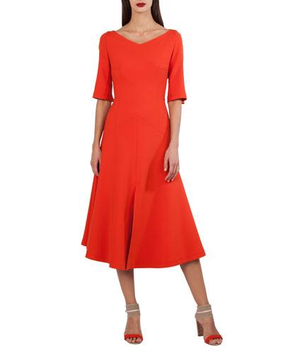 Elbow-Sleeve A-Line Techno Stretch Midi Dress