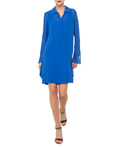 Carwash Long-Sleeve Silk Georgette Shirtdress