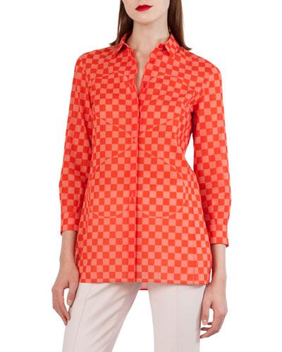 Sun Susie Check & Heart Print Cotton Voile Shirt