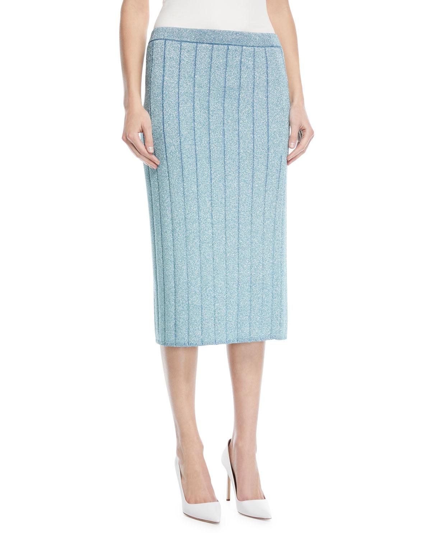 Lurex® Striped Knit Pencil Skirt