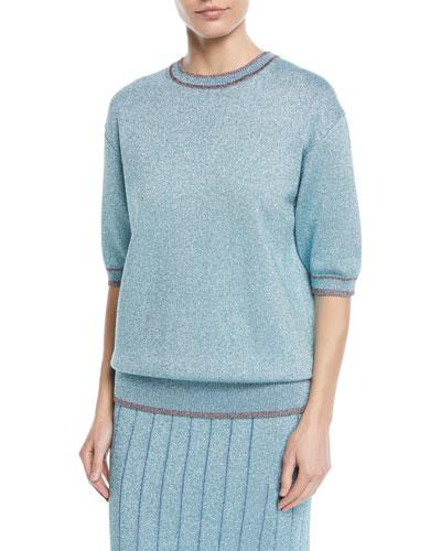 Short-Sleeve Crewneck Metallic Knit Top