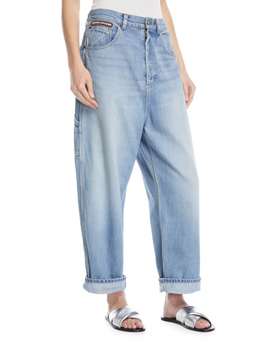 Oversized Wide-Leg Denim Cargo Pants