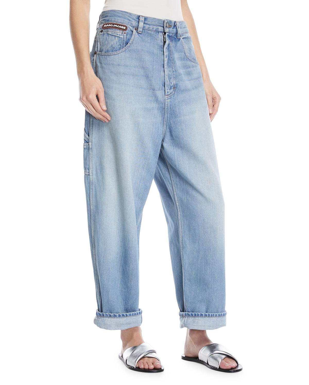 Oversized Wide-Leg Denim Cargo Pants