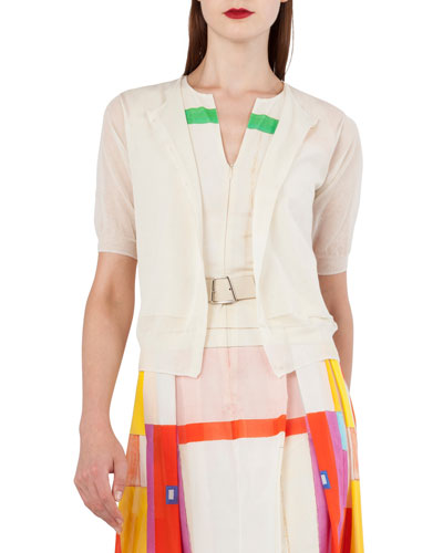 Elbow-Sleeve Short Knit Cardigan