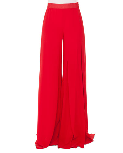 Triple-Layer Wide-Leg Silk Georgette Pants