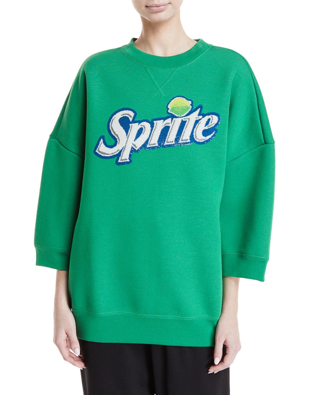 "Spriteâ""¢ Bracelet-Sleeve Crewneck Sweatshirt"