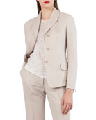 Wool Cotton Piqué 3-Button Blazer Jacket