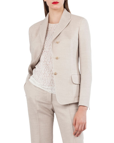 Wool Cotton Pique 3-Button Blazer Jacket