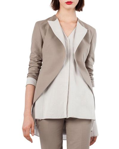 Open-Front Cotton-Silk Tuxedo Jacket