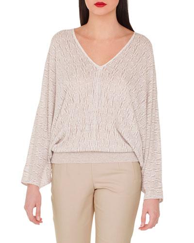 V-Neck Kimono-Sleeve Knit Pullover
