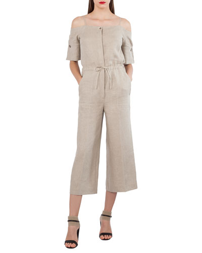 Open-Shoulder Elbow-Sleeve Lined Wide-Leg Jumpsuit