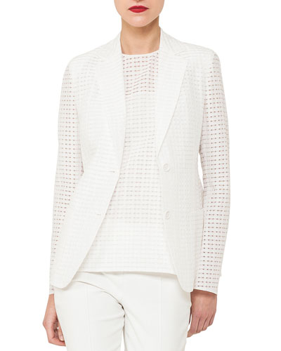 Cotton-Silk Square-Ajouré Single-Breasted Blazer