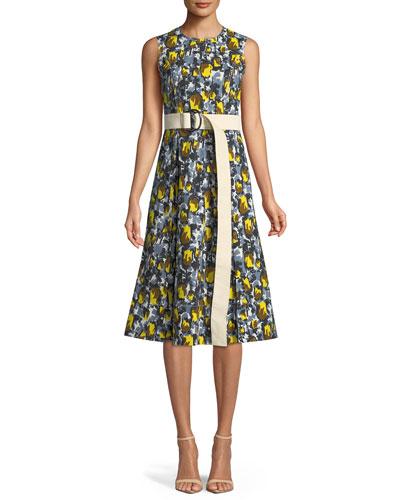 Sleeveless Rose-Print A-Line Cotton Woven Dress