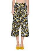 Rose-Print Wide-Leg Ankle Cotton Woven Pants