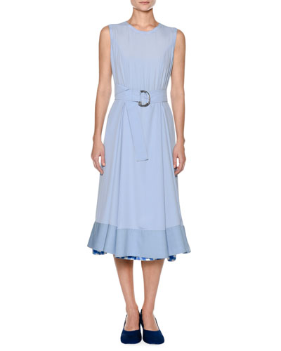 Sleeveless Washed Crepe Silk Ankle Midi Dress