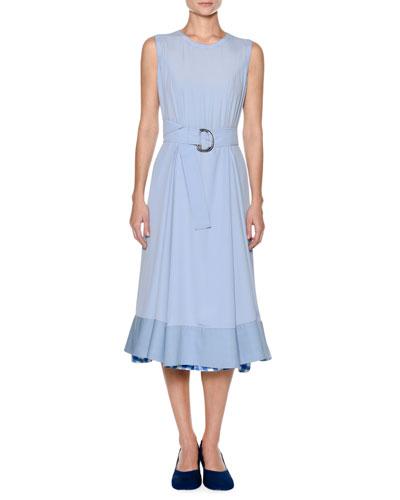 Sleeveless Washed Crepe Silk Ankle Midi Dress