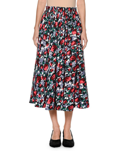 Calla Floral-Print Ankle-Length Cotton Poplin Skirt