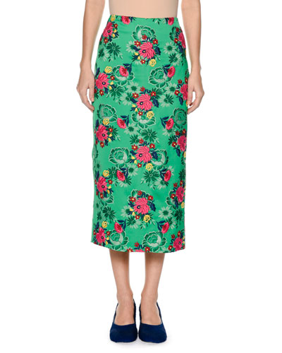 Floral-Brocade Midi Pencil Skirt