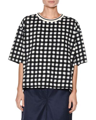 Short-Sleeve Cotton Jersey Check Oversized Shirt
