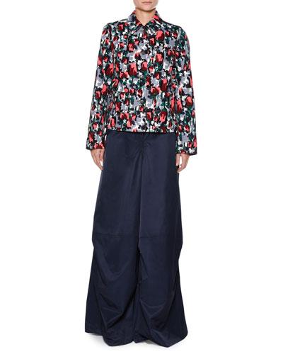 Calla-Print Cotton Drill Button-Front Jean Jacket