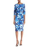 Floral 3/4-Sleeve Sheath Dress