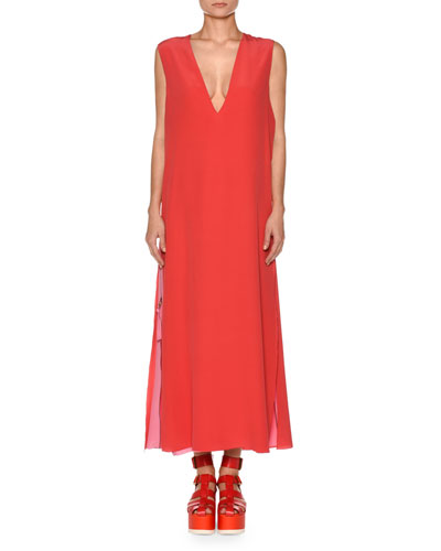 Silk Crepe de Chine Double Layer Midi Dress