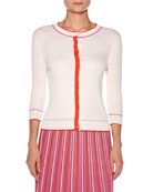 Silk Cotton Knit Multicolor Plisse Skirt