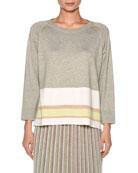 Cotton-Silk 3/4 Sleeve Tunic with Stripe Hem