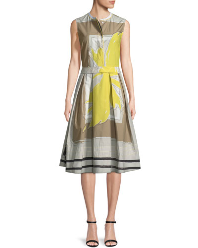 Sleeveless Graphic-Print Dress with Full Skirt
