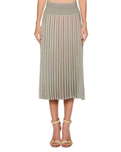 High-Waist Accordion Pleated Stripe Pull-On Skirt