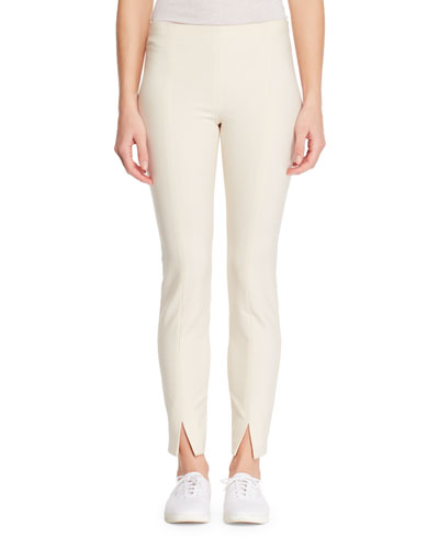 Sorocco Skinny-Leg Stretch-Wool Pants with Slit Hem